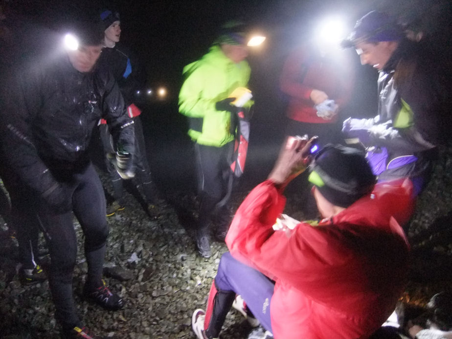 Night runners on the top of Morven on the shortest day of the year,